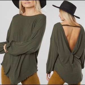 NWT Free People Bohemian Lagenlook Open Back Top